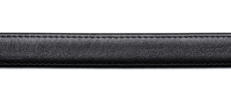 close up of  a black leather belt on white background photo