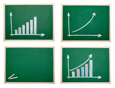 collection of chalkboards with finance business graph. each one is shot separately photo
