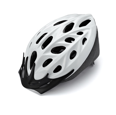 close up of  a cycling helmet on white background with clipping path photo