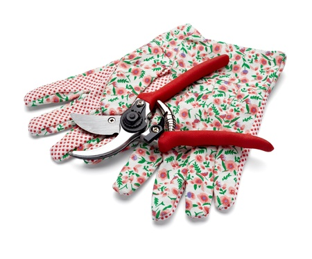 close up of  gardening scissors and gloves on white background with clipping path Stock Photo - 9774747
