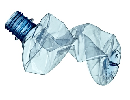 close up of an empty used plastic bottle on white background with clipping path Stock Photo - 9774710