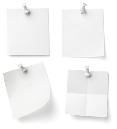 collection of various note papers with push pins on white background. each one is shot separately Stock Photo - 9774698