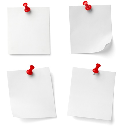 collection of various note papers with push pins on white background. each one is shot separately Stock Photo - 9774704
