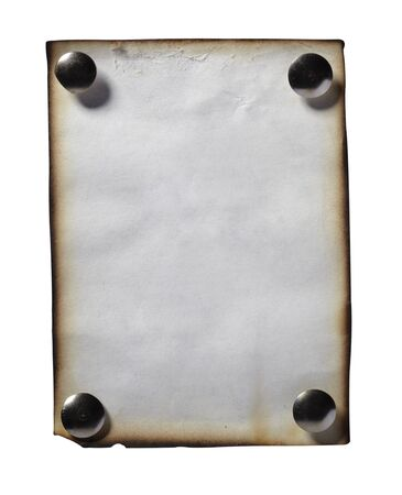 close up of grunge note paper on white background with clipping path photo