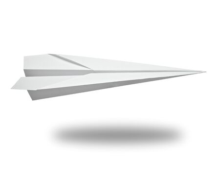 close up of  a paper airplane on white background with clipping path photo