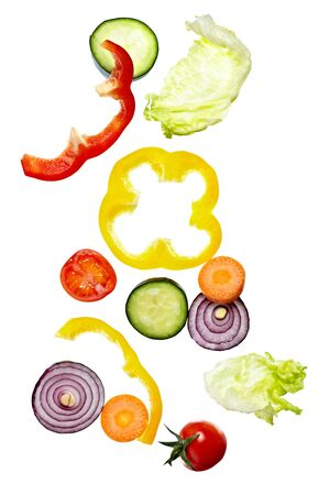close up of vegetables on white background photo