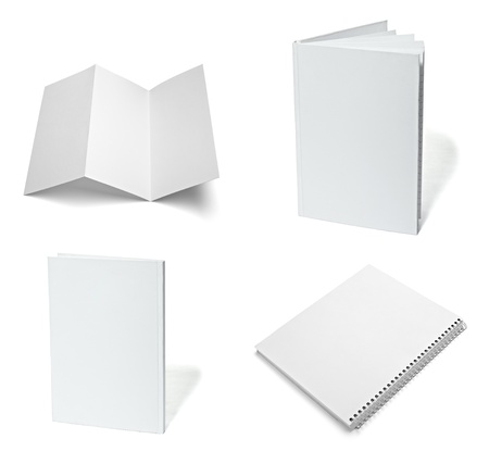 collection of various  blank white paper on white background. each one is shot separately Stock Photo - 9774687