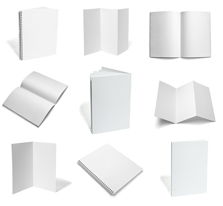 pamphlet: collection of various  blank white paper on white background. each one is shot separately Stock Photo