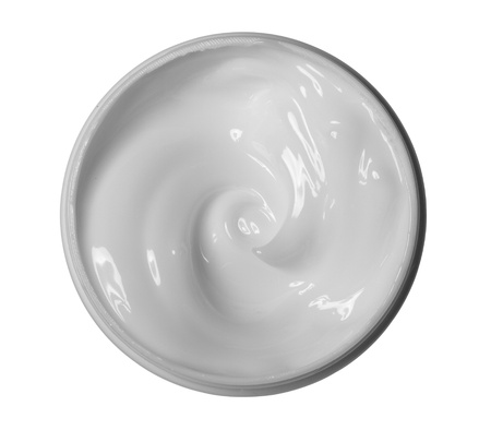 face cream: close up of a white beauty cream on white background with clipping path Stock Photo