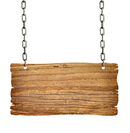 letreros: cerca de un cartel de madera con fondo de onwhite de cadena
