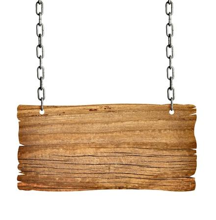 uithangbord: Close up van een houten bord met keten onwhite achtergrond  Stockfoto