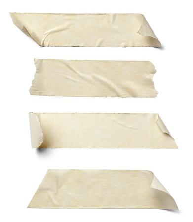collectie van verschillende plakband stukken op witte achtergrond.