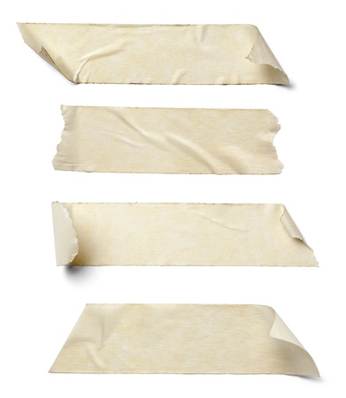 adhesive tape: collection of  various adhesive tape pieces on  white background.