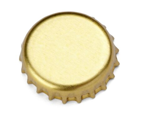 beer background: close up of  a bottle cap on white background with clipping path