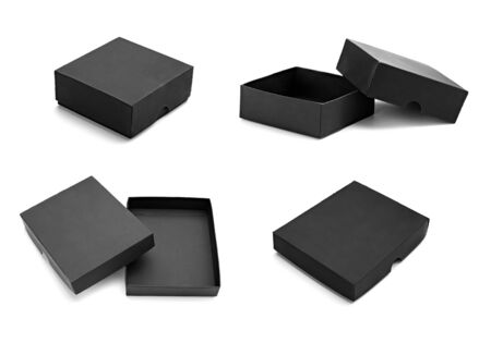 background box: close up of a black box on white background  Stock Photo