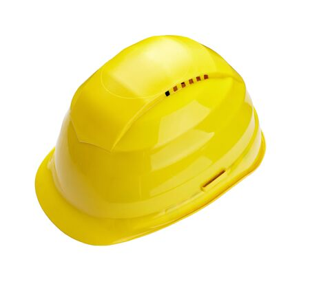 close up of  a yellow construction helmet on white background Stock Photo - 9917079