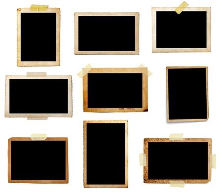Sammlung von verschiedenen alten Fotos auf weißem Hintergrund.