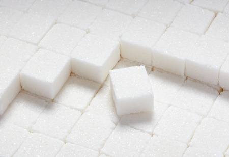 sugar cubes: close up of sugar cubes on white background