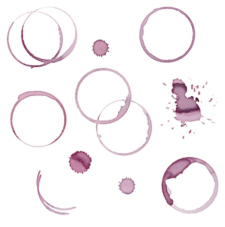 collection of  vaus wine stains on  white background. each one is shot separately Stock Photo - 9915569