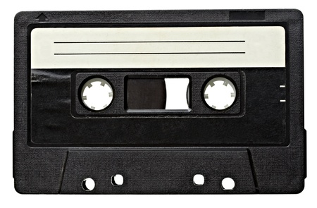 cassette tape: close up of vintage audio tape on white background  Stock Photo