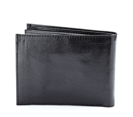 wallet: close up of  a black leather wallet on white background