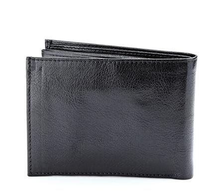 Close up van een zwart lederen portefeuille op witte achtergrond  Stockfoto