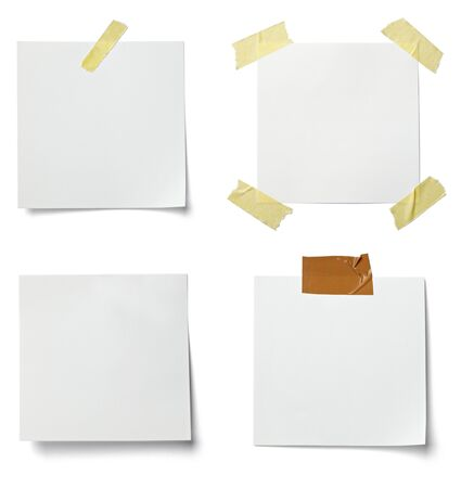 collection of various  note papers on white background.  photo