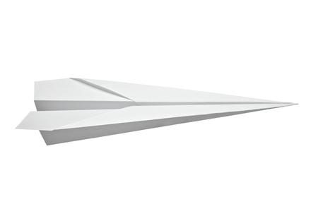 paper craft: cerca de un avi�n de papel en el fondo blanco