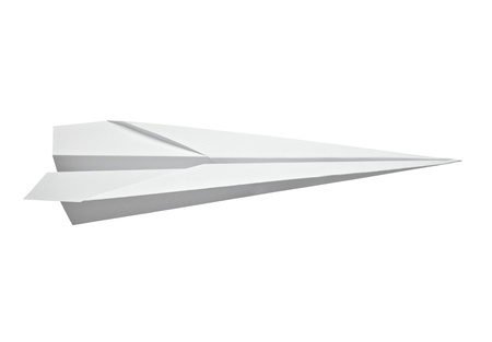 toy plane: close up of  a paper airplane on white background  Stock Photo