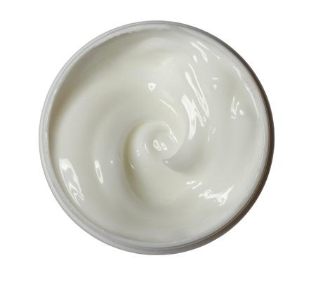 crème: Close up di una crema di bellezza bianco su sfondo bianco
