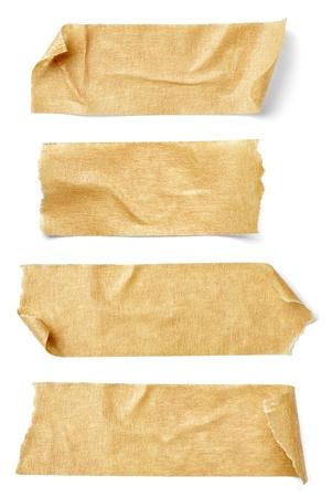collectie van verschillende plakband stukken op witte achtergrond. elk wordt afzonderlijk neergeschoten