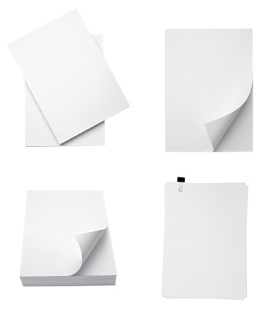 stacked up: collection of various stacks of papers on white background. each one is shot separately