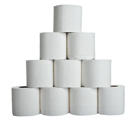 soft tissue: close up of  a toilet paper on  white background  Stock Photo
