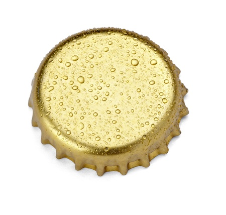 cold beer: close up of  a bottle cap on white background