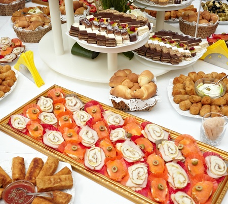 close up of catering food on table photo