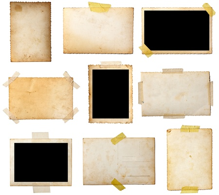 adhesive tape: collection of various  old photos on white background. each one is shot separately Stock Photo