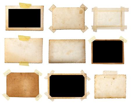 흰색 배경에 다양 한 오래 된 사진의 컬렉션입니다. 각자를 개별적으로 찍은 사진입니다