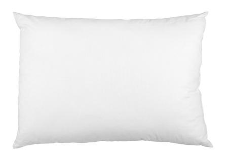 cama: cerca de una almohada sobre blanco