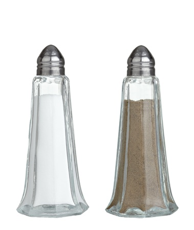 salt shaker: close up of  salt and pepper on white background Stock Photo