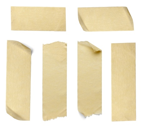 adhesive tape: collection of  various adhesive tape pieces on  white background. each one is shot separately