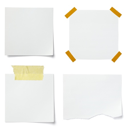 bulletin board: collection of various  note papers on white background. each one is shot separately