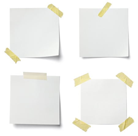 Collection Of Various Note Papers On White Background. Each One Is Shot  Separately Photo  Collection Note