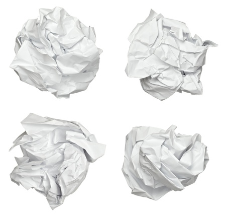 crumpled paper: collection of various paper ball on white background. each one is shot separately Stock Photo