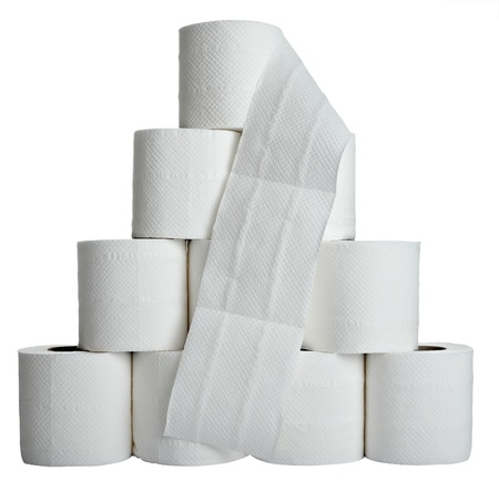 close up of  a toilet paper on  white background  photo