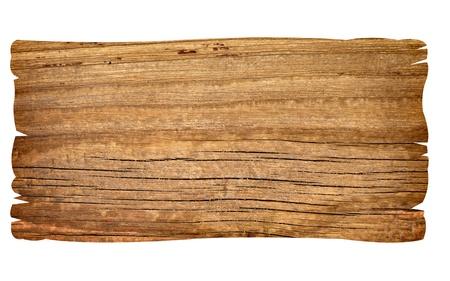 primo piano di un segno in legno vuoto su sfondo bianco con un tracciato di ritaglio