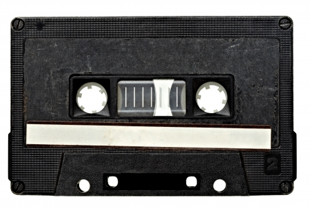 cassettes: close up of vintage audio tape on white background