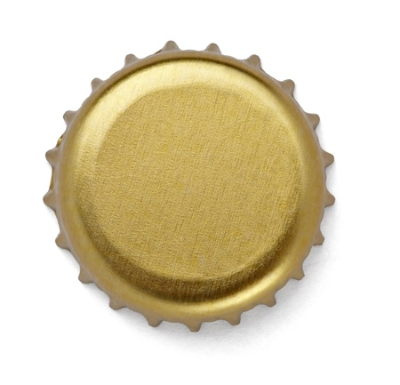 bottle opener: close up of  a bottle cap on white background