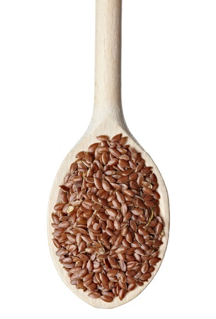 close up of flax seeds in a wooden spoon on white background