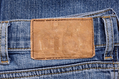 close up  of a jeans label photo