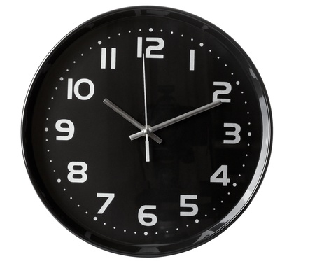 close up of an office clock on white background  Stock Photo - 10252593